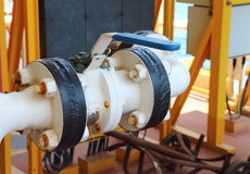 Ventiler som är manuella i processen Produktionsprocess använt manuellt val Arkivfoton