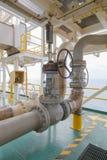 Ventilhandbuch für Offshoreindustrieöl und -gas stockfotos