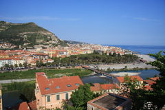 Ventimiglia. Is a frontier town, commune and episcopal see of Liguria, Italy, in the province of Imperia (formerly in the Province of Porto Maurizio) 130 km stock photography