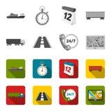 Ventiquattr'ore su ventiquattro, strada, camion, JPS Loqistic, ha messo le icone della raccolta nelle azione monocromatiche e pia royalty illustrazione gratis