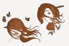 Vento, capelli, farfalle Fotografie Stock Libere da Diritti