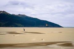 Vento che pratica il surfing stile dell'Alaska fotografia stock libera da diritti