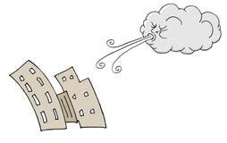 Vento de sopro de Windy Day Buildings e da nuvem Fotos de Stock