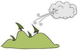 Vento de sopro de Windy Day Trees e da nuvem Fotografia de Stock