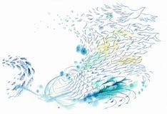 Vento del fondo e pesci ed uccello astratti dell'acqua Fotografia Stock