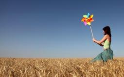 vento della turbina della ragazza Fotografia Stock