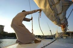 Vento di cattura. L'Egitto, fiume di Nilo fotografia stock