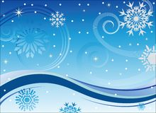 Vento e fiocchi di neve di inverno Fotografie Stock