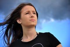 Vento nei capelli Fotografie Stock Libere da Diritti