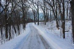 Ventos cobertos de neve de uma estrada através de uma floresta Imagens de Stock