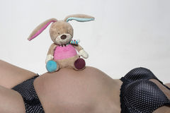 Ventre de bébé avec le petit jouet de peluche Photo libre de droits