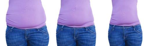 Ventre de femme avant après la perte de poids, suivre un régime sain de sports obèses de forme photo stock