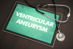 Ventricular aneurysm (heart disorder) diagnosis medical concept. On tablet screen with stethoscope stock photos