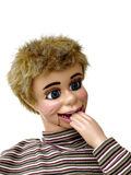 Ventriloquist Dummy 4. Ventriliquist dummy with hand in mouth on white background Stock Photography