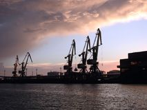Ventspils harbour and beautiful cloudy sky, Latvia royalty free stock photos
