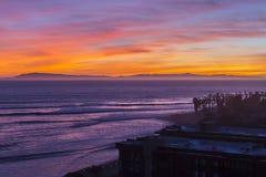 Ventura Καλιφόρνια ειρηνικό ηλιοβασίλεμα Στοκ Εικόνες