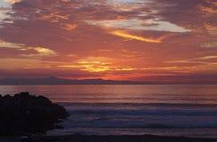 Ventura, CA, strand bij Zonsondergang royalty-vrije stock afbeeldingen