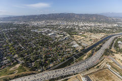 Ventura Freeway and Los Angeles River in Burbank Royalty Free Stock Image