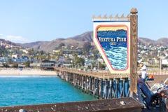 Ventura Historic Pier wooden sign in Los Angeles, USA. Ventura Historic Pier wooden sign in Los Angeles USA stock image