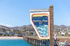 Ventura Historic Pier wooden sign in Los Angeles, USA. Ventura Historic Pier wooden sign in Los Angeles USA stock photography
