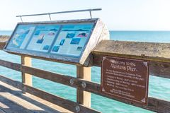 Ventura Historic Pier wooden sign in Los Angeles, USA. Ventura Historic Pier wooden sign in Los Angeles USA royalty free stock photo