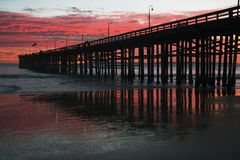 Ventura Pier bij zonsondergang, Ventura, Californië, de V.S. royalty-vrije stock foto