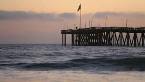 Ventura Pier in California at sunset stock video