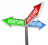 Venture Arrow Signs Choose Best Business Startup Model Idea. Venture word on three arrow signs pointing to different business model startup options or choices Royalty Free Stock Images