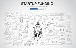 Venture Capital Funding concept with Business Doodle design styl Stock Image