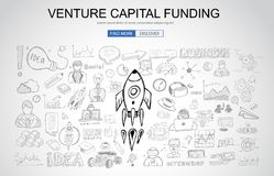 Venture Capital Funding concept with Business Doodle design styl Royalty Free Stock Image