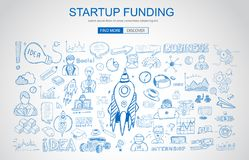 Venture Capital Funding concept with Business Doodle design style. Raise money, campain best practice, series A crowd fund. Modern style illustration for web Royalty Free Stock Image