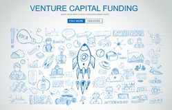 Venture Capital Funding concept with Business Doodle design style Royalty Free Stock Image