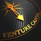 Venture Capital - Golden Compass Needle. Venture Capital - Business Concept. Golden Compass Needle on a Black Field Stock Image