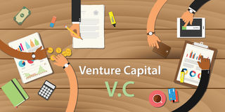 Venture capital illustration with text and team work together Stock Images