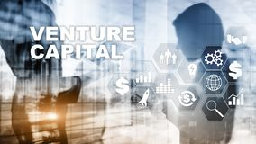 Venture Capital on Virtual Screen. Business, Technology, Internet and network concept. Abstract background stock image