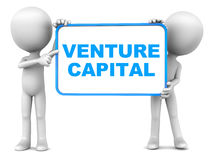 Venture capital. Words on a board held up by little 3d men against white background stock illustration