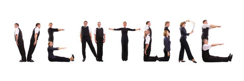 Venture group. Group of young business people standing over white to form VENTURE word Stock Images