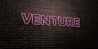 VENTURE -Realistic Neon Sign on Brick Wall background - 3D rendered royalty free stock image Royalty Free Stock Image
