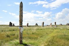 The venue for the ceremony. Salbykskiy mound. Ancient stones in the Khakass steppe. Khakass Stonehenge Stock Image