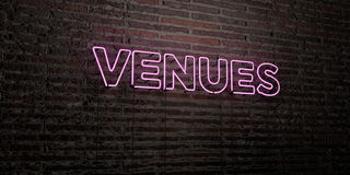 VENUES -Realistic Neon Sign on Brick Wall background - 3D rendered royalty free stock image Royalty Free Stock Photography