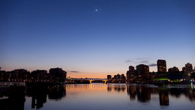 Venus And Moon Over Vancouver Stock Image