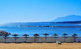 Venus Beach in Marbella, Spain. View of Venus Beach in Marbella, Spain Royalty Free Stock Photography