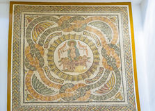The Venus and Cupids. TUNIS, TUNISIA - SEPTEMBER 2, 2015: The mosaic picture with the little Cupids, carring the chariot with the Roman Goddess Venus, Bardo Royalty Free Stock Photo