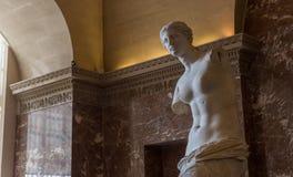 Venus de Milo Louvre, Paris, Frankrike Arkivfoton