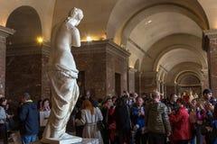 Venus de Milo Louvre, Paris, Frankrike Fotografering för Bildbyråer