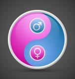 Venus en vrouwelijk en mannelijk yin yang symbool van Mars Royalty-vrije Stock Foto's