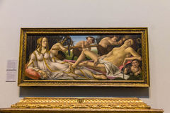 Venus en Mars, ongeveer 1485, door Sandro Botticelli bij het National Gallery van Londen Stock Foto