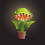 Venus flytrap flower carnivorous plant illustration. Wild deadly hungry plant in pot on dark background royalty free illustration