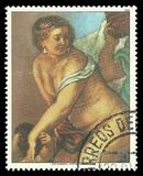 Venus in the Forge of Vulcan by Rubens. Paraguay - stamp 1985: Color edition on Art, shows Painting Venus in the Forge of Vulcan by Rubens Stock Photography