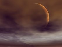 Venus from its moon. Surreal Illustration of Venus from a possible moon Royalty Free Stock Image